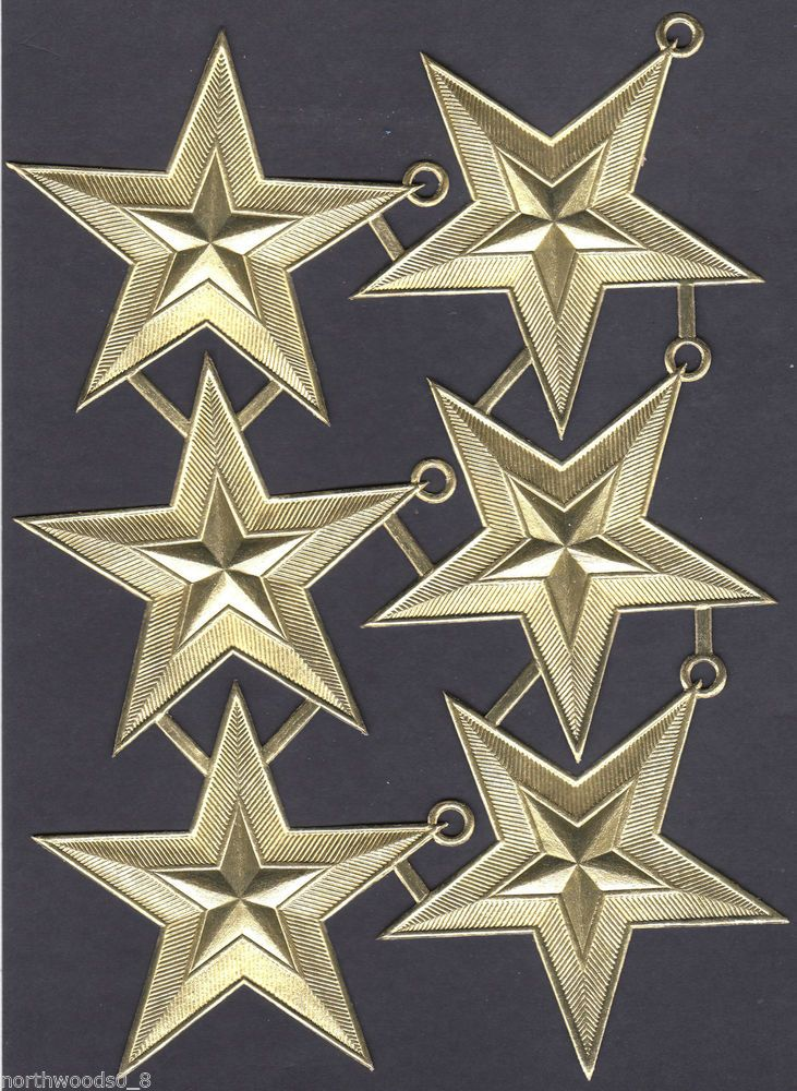 STAR MEDALLION GOLD HANGER DETAILED DRESDEN GERMAN PAPER FOIL EMBOSSED ORNAMENT