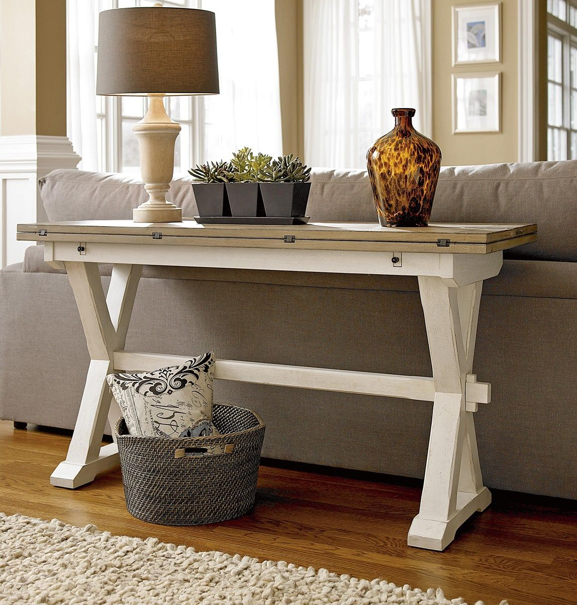 Coastal Beach White Drop Leaf Kitchen Console Table In