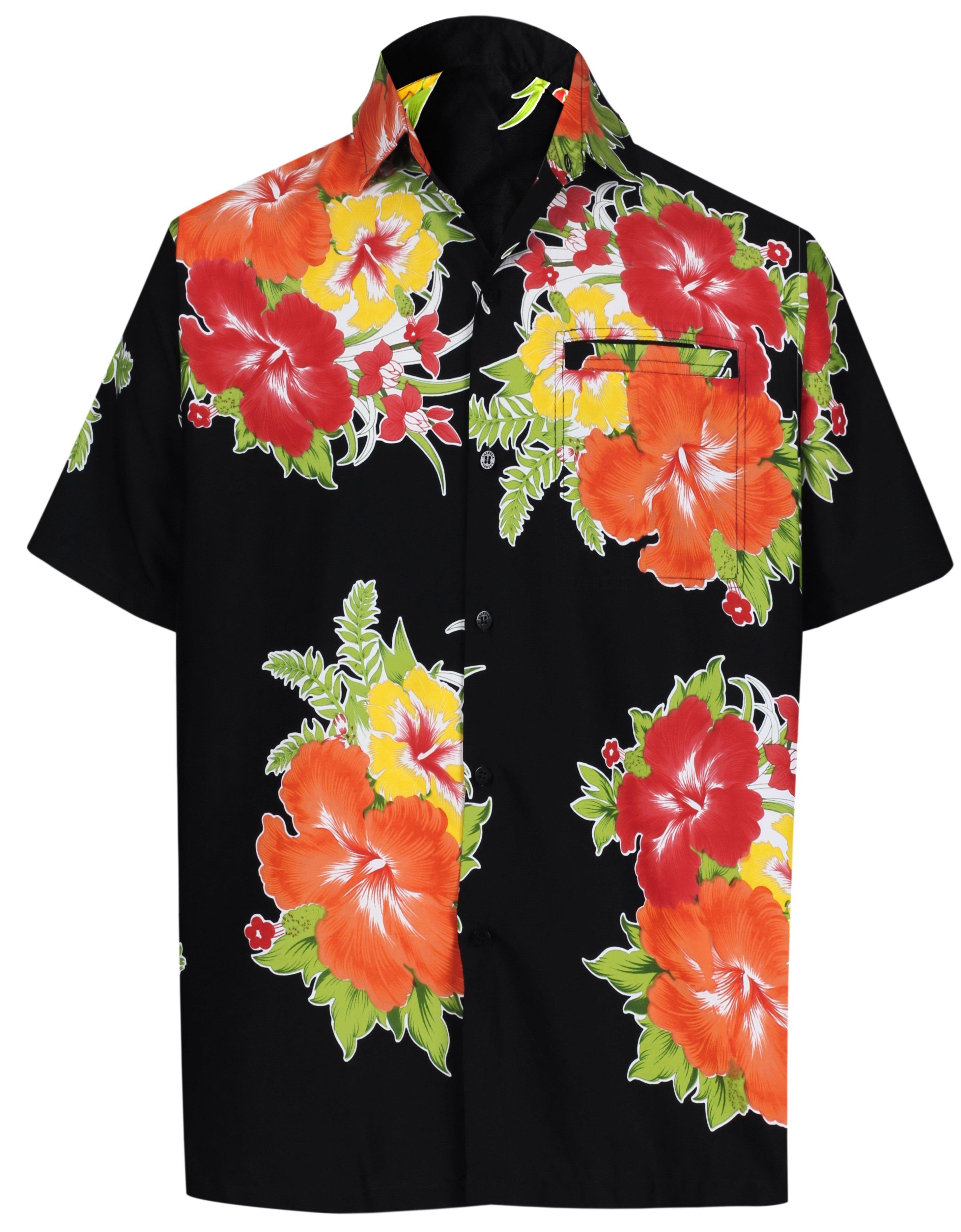 3faf898b LA LEELA Men's Casual Beach hawaiian Shirt Aloha Tropical Beach front Pocket  Short sleeve Black