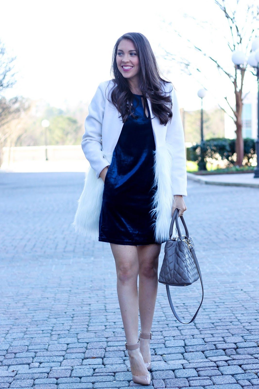 Navy Blue Velvet Shift Dress With Faux Fur Coat In White Winter Cottonink Miranka M Outfit Pretty The Pines Shelbslv
