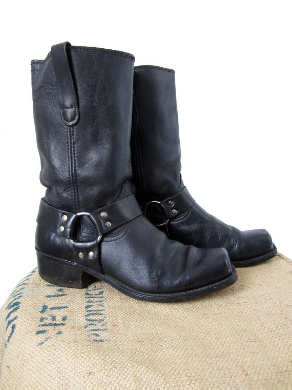 Vintage 70s Sears Black Harness Boots Leather Biker Boot Mens 9
