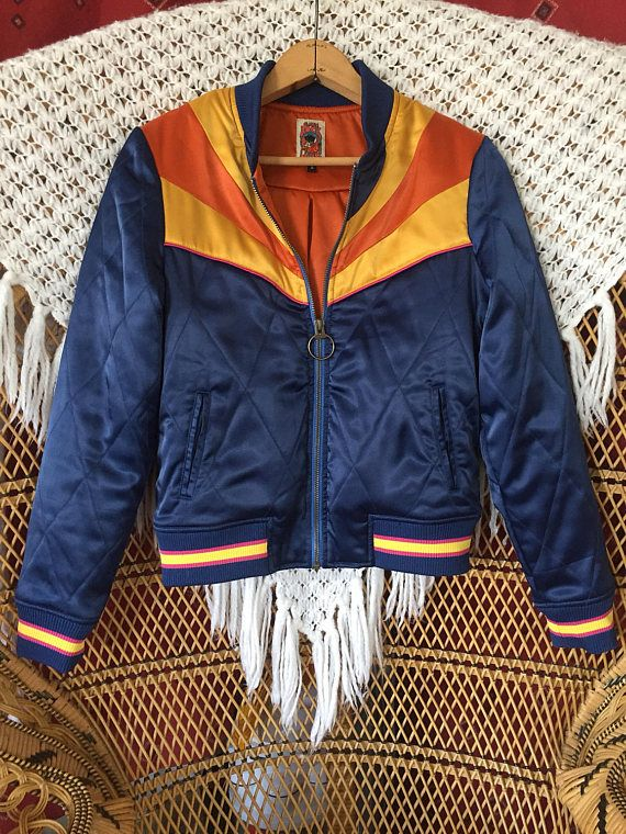 Rising Sun Jacket Navy Blue Quilted 70s Style Bomber Jacket Lightweight Ski Jacket As Seen On Classicrockcouture Bomber Jacket Quilted Bomber Jacket Clothes
