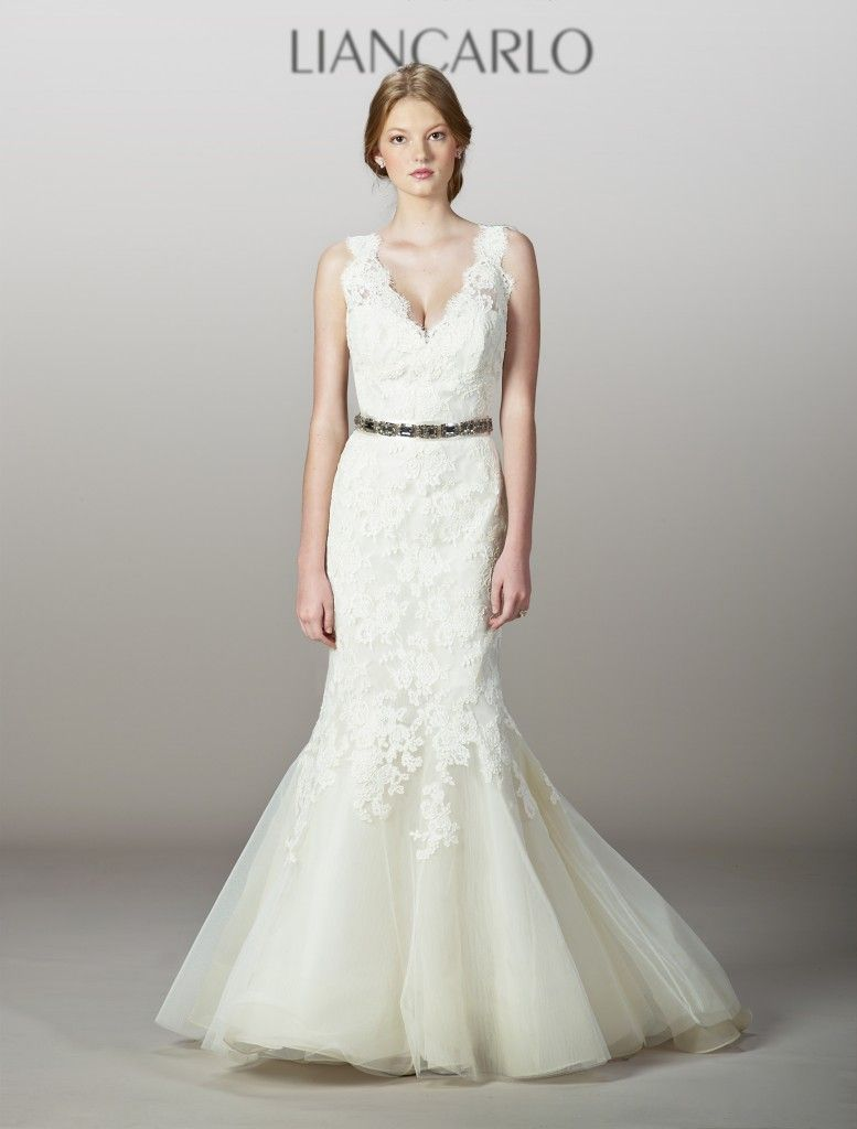 Dresses to wear at a wedding  Liancarlo Spring   White lace belted gown Lovely  lace