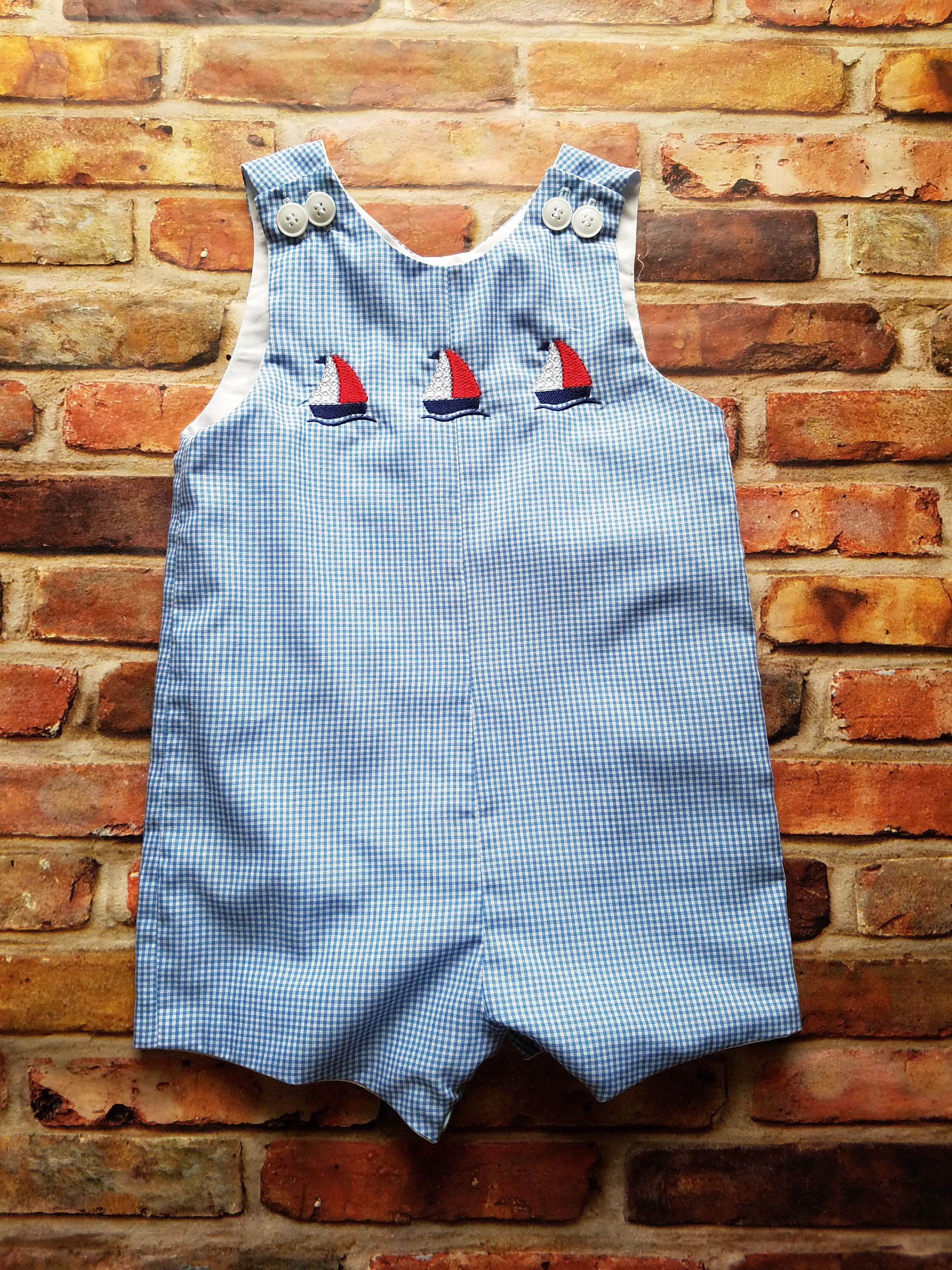 9328a0b74064c Sunsuit/romper with Embroidered sailboats, baby boy, toddler boy, beach  shorts, summertime overalls, boy romper, blue sunsuit, lined romper by ...