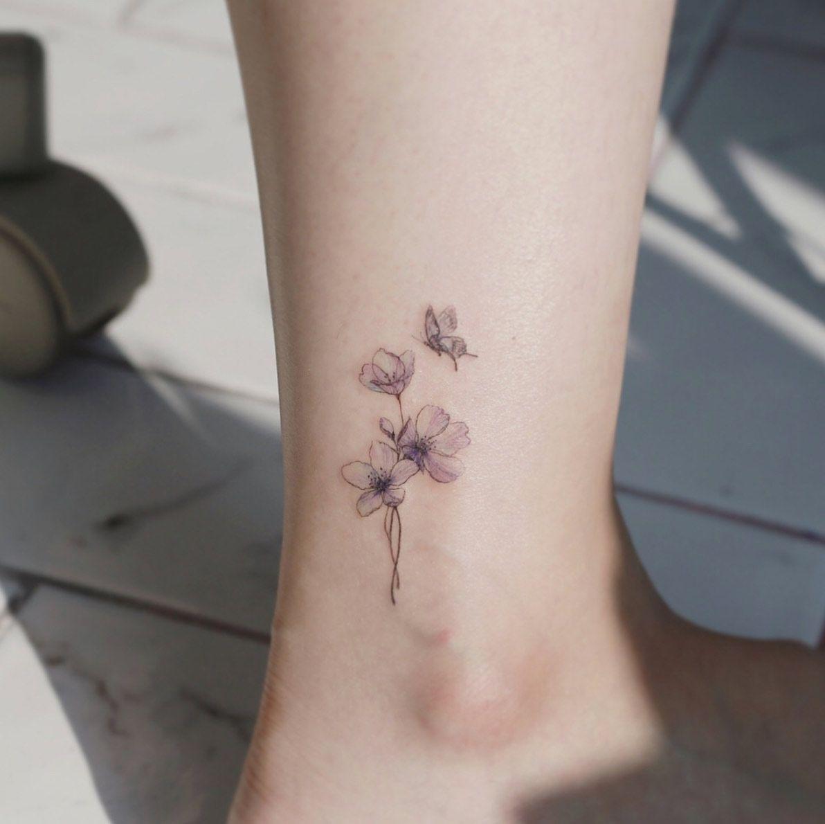 Women Tattoo Flowers Cherry Blossoms - Women