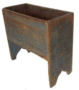 X145 Late 19th century Pennsylvania Potato Bin with old pewter gray paint over the original gray, nailed construction, wonderful cut out ends, the wood is white pine