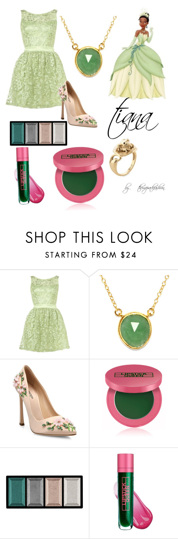 """tiana"" by themeparkfashion ❤ liked on Polyvore featuring Lipsy, BillyTheTree, Giambattista Valli, Lipstick Queen and Clé de Peau Beauté"
