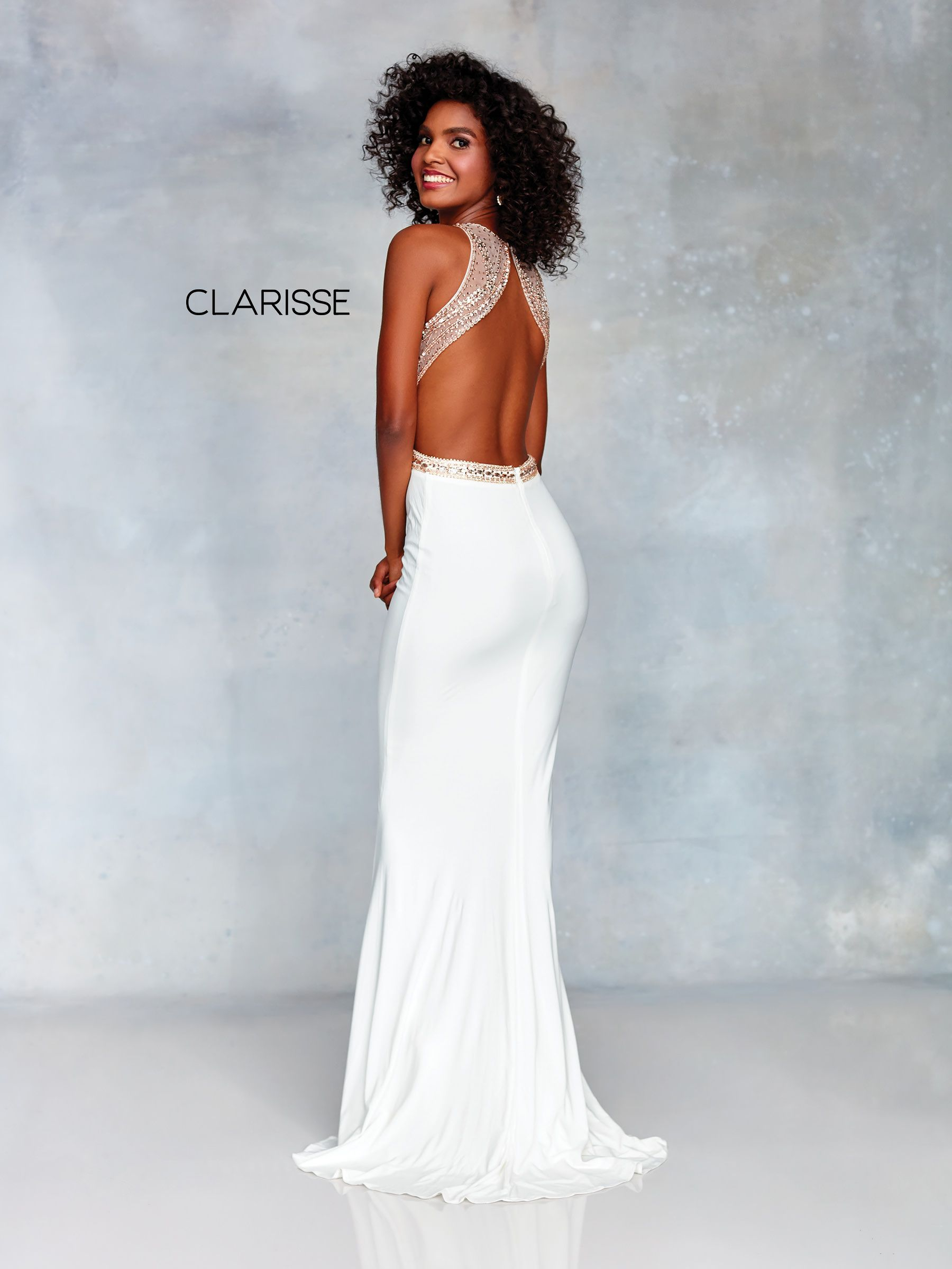 5950ab5e1e7 3720 - Ivory and rose gold jersey dress with a beaded top