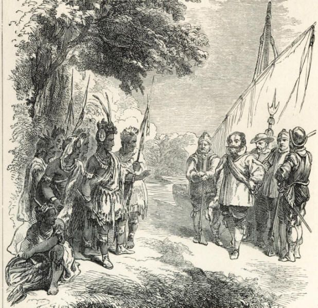 Captain john smith meeting with chief powhatan tfk stories john smith founder of the virginia colony and powhatan the chief of the powhatan native american tribe sciox Images