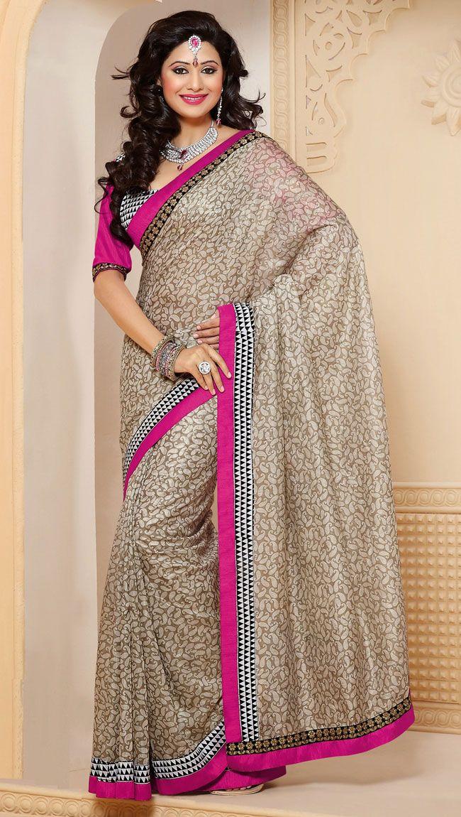 Trendy Brown Silk Party Wear Saree - IG331353USD $ 42.09