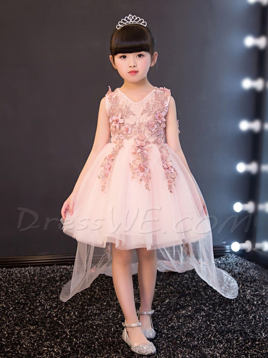 V-Neck Straps Sleeves Tulle Flower Girl Dress | Flower Girl Dress ...