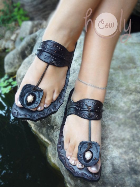 100% Handmade Funky Thai Dark Brown Leather by HolyCowproducts