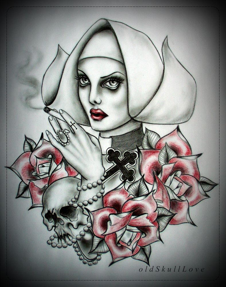 oldskulllove nun tattoo design you can use my design for your tattoo for free but in return. Black Bedroom Furniture Sets. Home Design Ideas