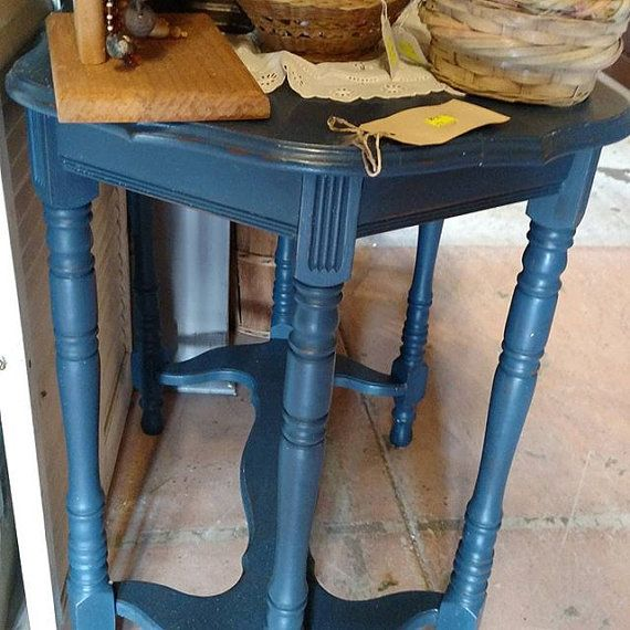 Prime Blue Painted Side Table End Table Vintage Furniture Home Interior And Landscaping Palasignezvosmurscom