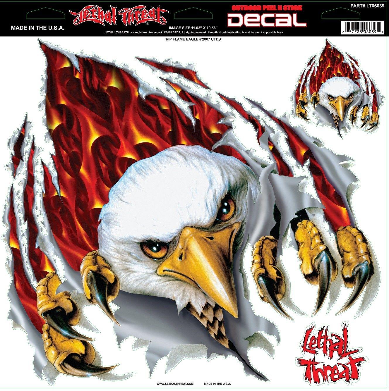 Car sticker eagle - Lethal Threat Rip Flame Eagle Decal