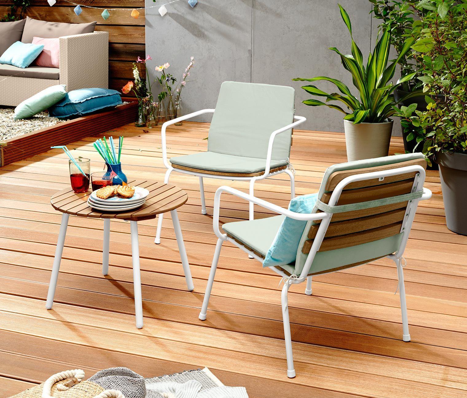Kerti Szek Es Asztal Szett 3 Reszes Fa 344087 A Tchibo Nal Outdoor Chairs Lounge Sets Outdoor Furniture