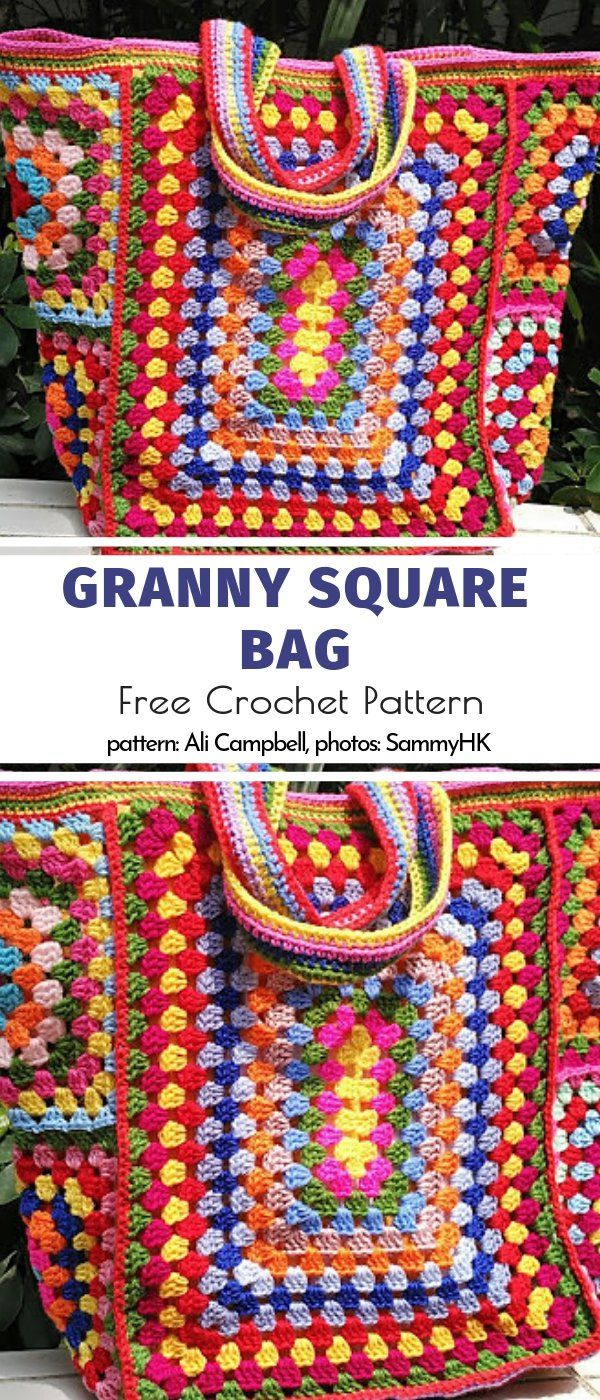 Granny Bags and Pouches Free Crochet Patterns #grannysquares
