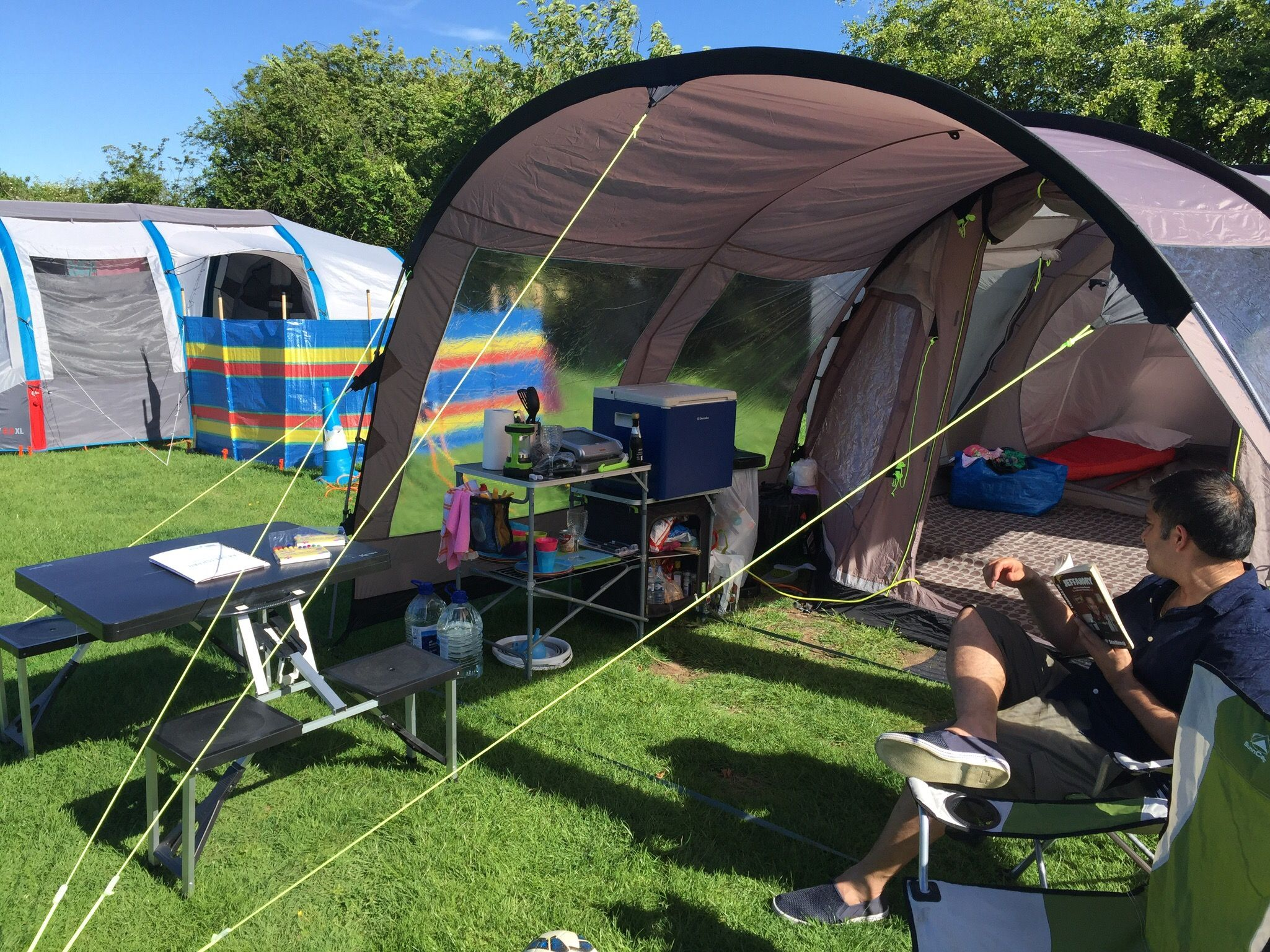 C&ing Outwell Nevada m tent front porch extension kitchen set up & Camping Outwell Nevada m tent front porch extension kitchen set up ...