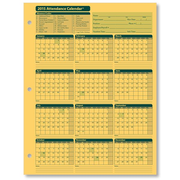 Image for Free 2015 Employee Attendance Calendar | work related ...