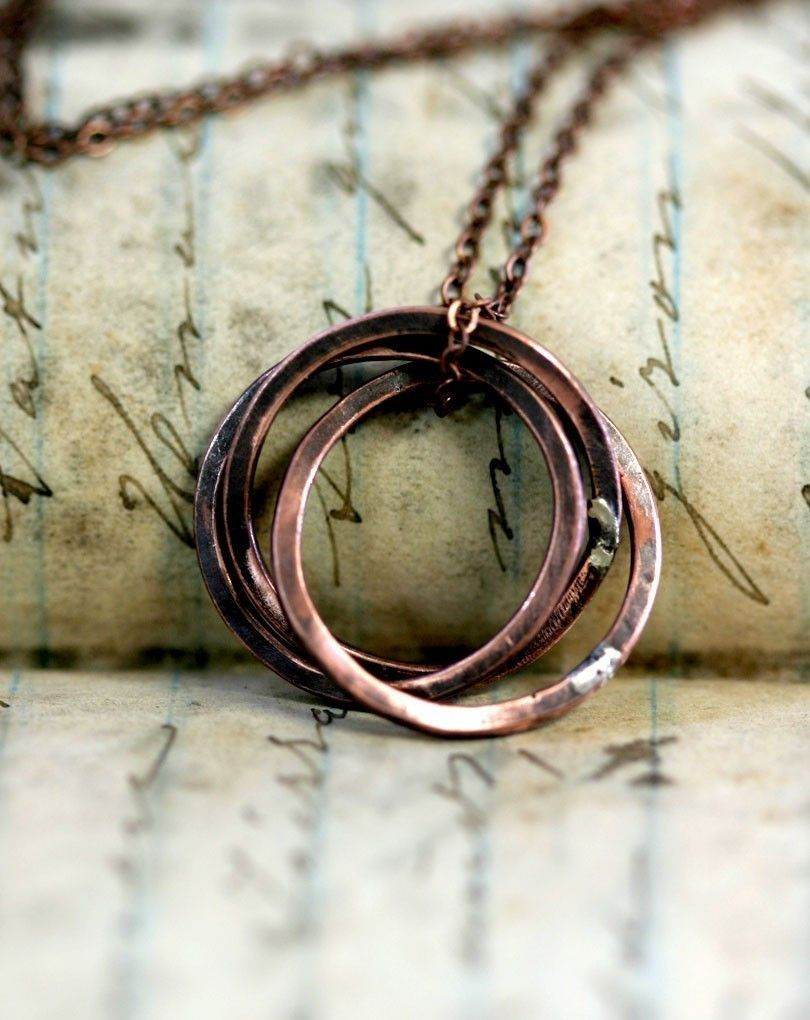 Trinity Ring Necklace of Oxidized Copper | I have a special someone in mind (: