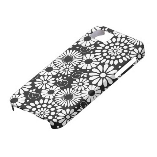 retro black white flowers iphone 5 case  blackandwhite