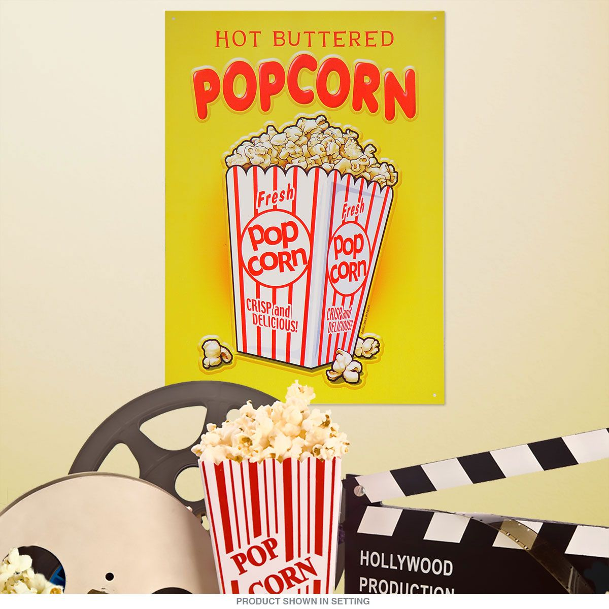 Theater Room Snack Bar: Hot Buttered Popcorn Snack Bar Metal Sign