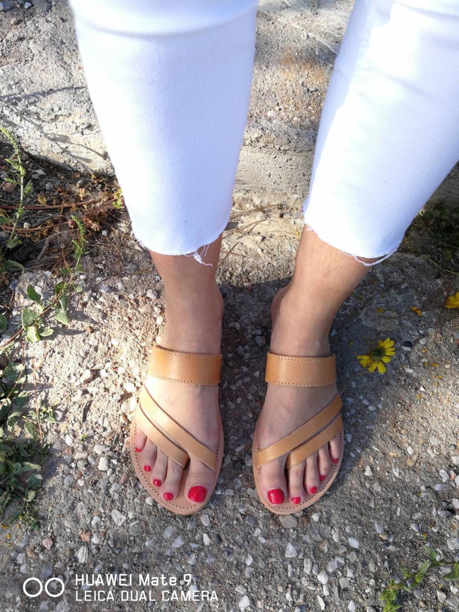 4f5271e87922 Greek Leather Sandals Greek Slip on gladiator Slip on