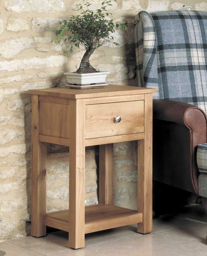 baumhaus mobel oak 1 drawer lamp table solid wood furniture handmade furniture furniture direct