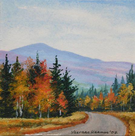 Mountain Road Miniature Watercolor Fall Landscape Painting Landscape Paintings Acrylic Fall Watercolor