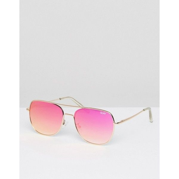 Quay Australia Running Riot Aviator Sunglasses (47.950 COP) ❤ liked on Polyvore featuring accessories, eyewear, sunglasses, gold, oversized cat eye sunglasses, oversized aviator glasses, cat eye aviator sunglasses, cat eye glasses and cat eye sunglasses
