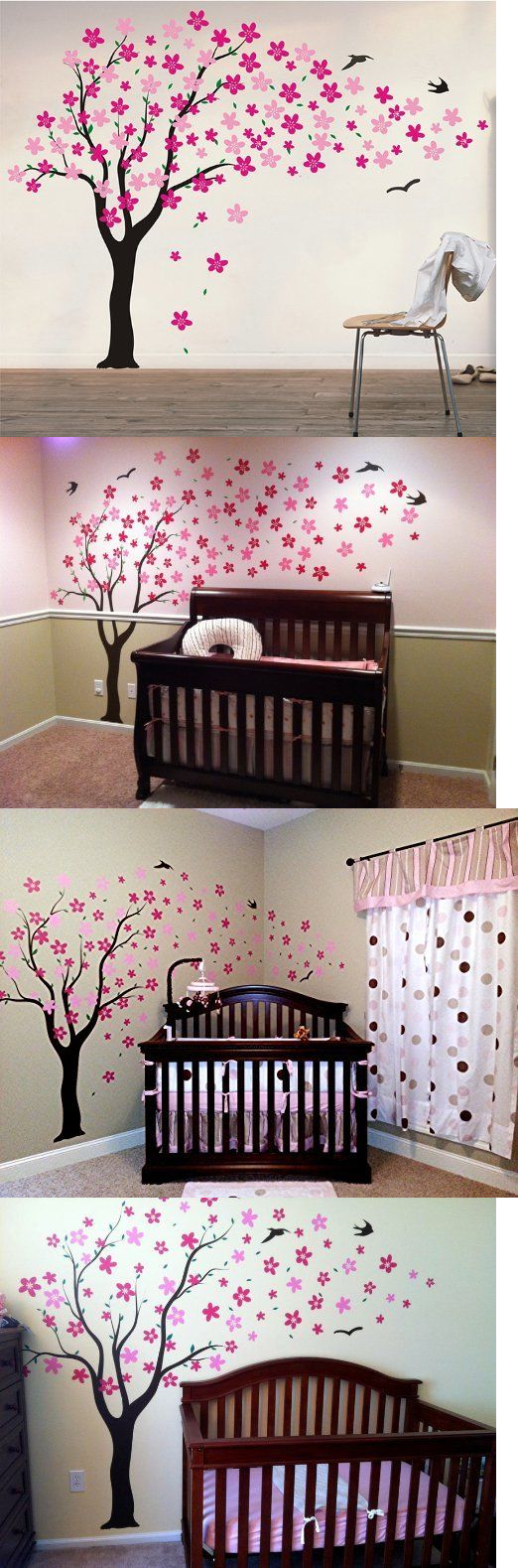 Master bedroom wall decor stickers  Kids at Home Wall Decals Nursery Room Decor Flowers Birds Tree Kids