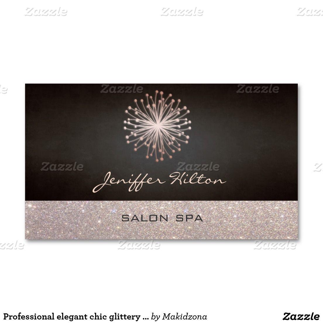 Professional elegant chic glittery dandelion business card ...