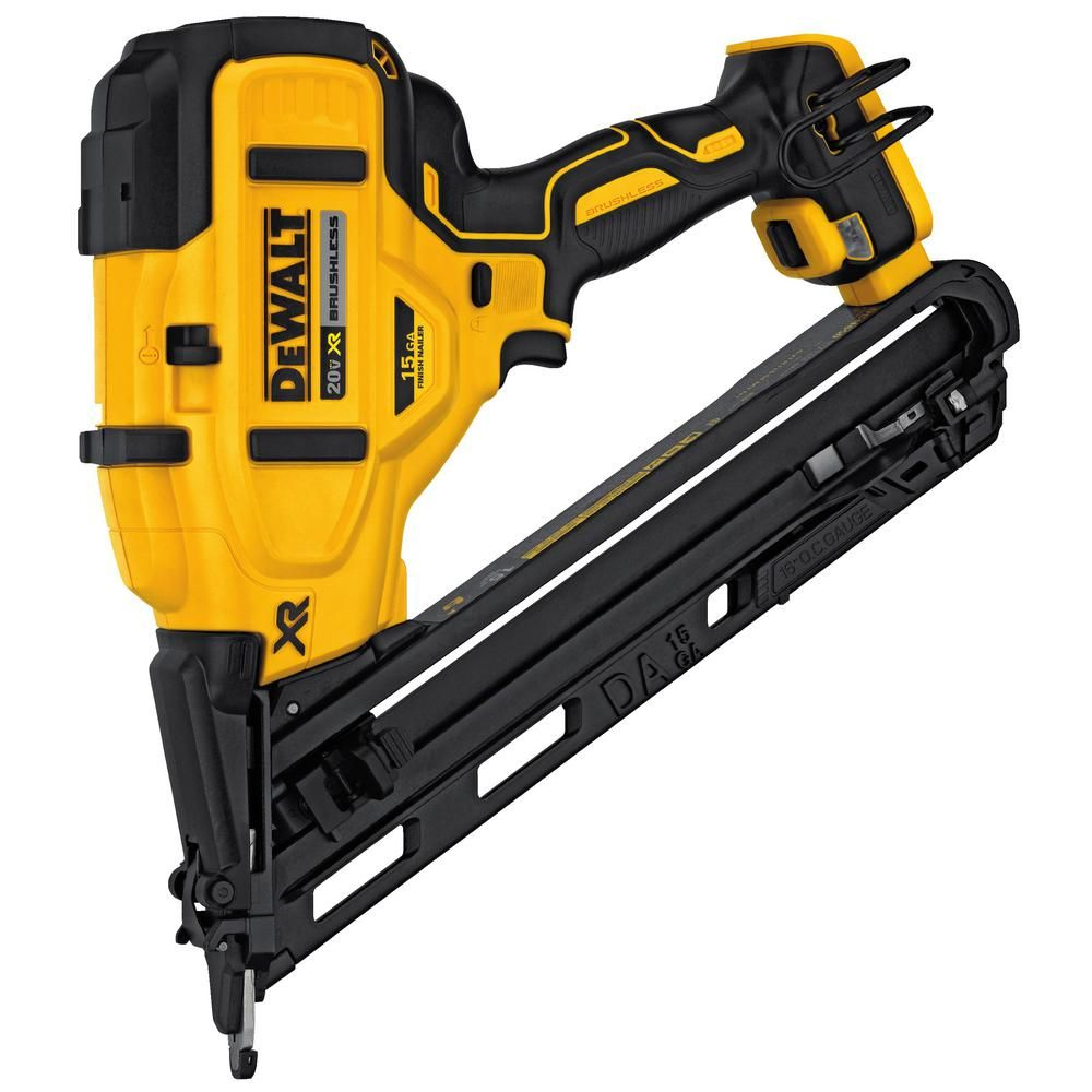 Dewalt 20 Volt Max Xr Lithium Ion Cordless 15 Gauge Angled Finish Nailer Tool Only Dcn650b The Home Depot Finish Nailer Dewalt Nailer