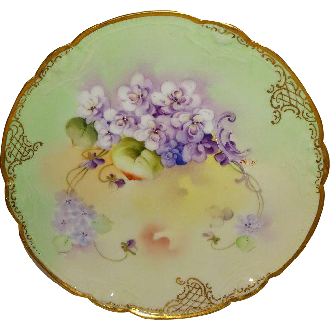 Antique French Limoges Plate Violets Hand Painted Pickard Artist Signed Nessy  sc 1 st  Pinterest & Antique French Limoges Plate Violets Hand Painted Pickard Artist ...
