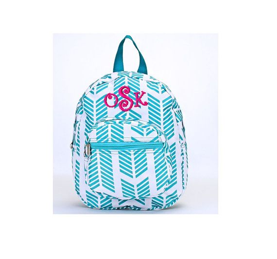 Monogrammed Mini Toddler Backpack - Personalized White with Teal Aqua  Arrows Small Baby Backpack 64558bb496eb4