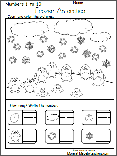 Free Kindergarten Winter Math Worksheet Count And Write Numbers Made By Teachers Winter Math Worksheets Winter Math Winter Math Kindergarten