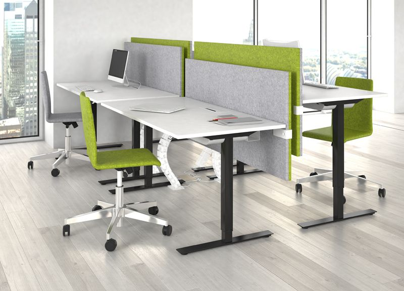 One Sit Stand Desks Modus Acoustic Screens And Moon Chairs Narbutas Office Interiors Sit Stand Desk Desk