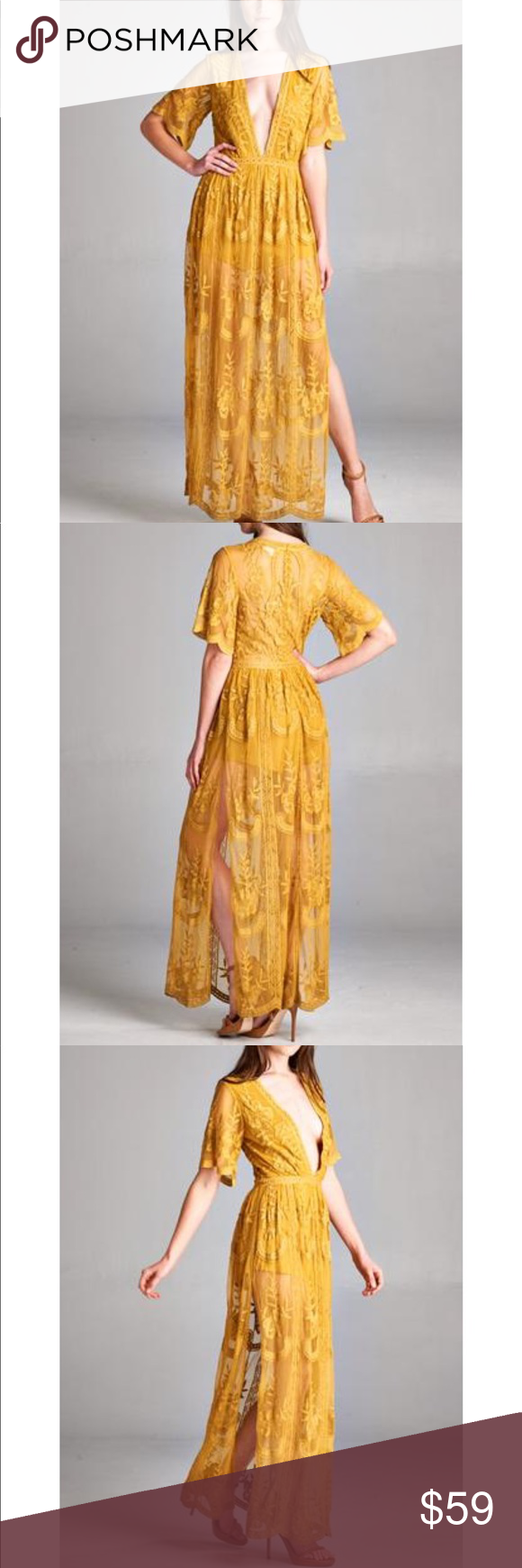 Long gold yellow lace vneck maxi dress nwt boutique pinterest