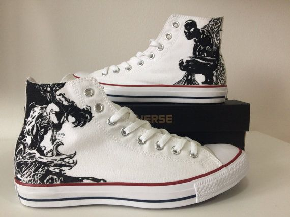 Custom All Stars >> Converse All Star Custom Shoes Spiderman Venom Painting Shoes