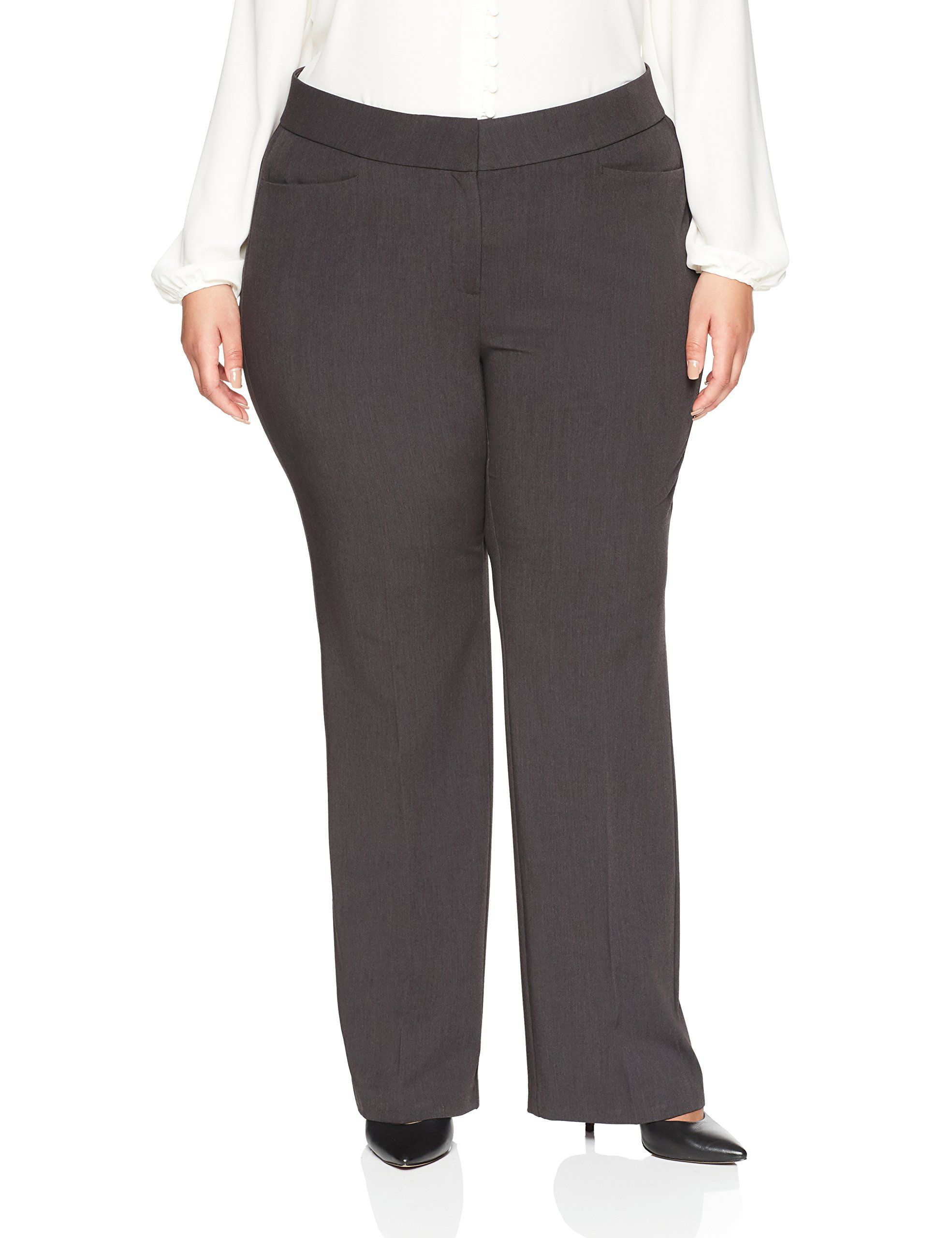 Lark And Ro Womens Plus Size Bootcut Trouser Pant Curvy Fit Charcoal 18w See This Terrific Product This Plus Size Business Attire Curvy Fit Trouser Pants [ 2560 x 1969 Pixel ]