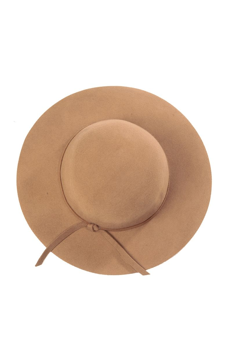 Brown Camel Wool Floppy Hat @ CiciHot $30