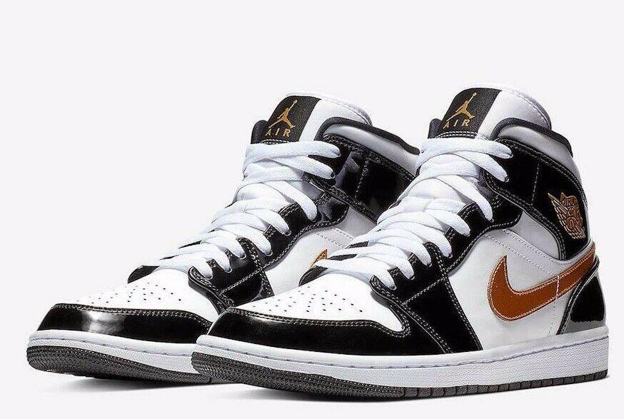 Nike Air Jordan 1 Mid Patent Black White Gold 852542 007 Brand New
