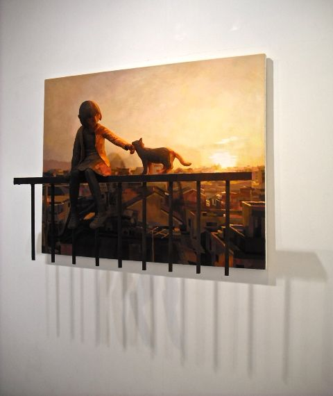 Shintaro Ohata -- talk about foreground/background or figure-ground relationships (foreground 3-D, background 2-D)
