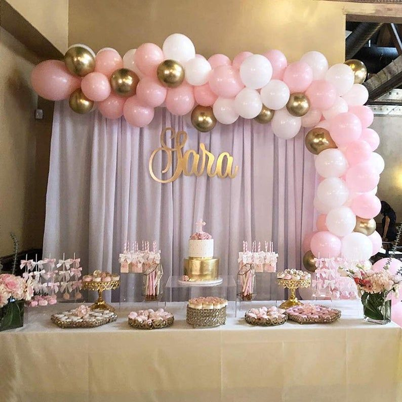 16ft Baby Pink White And Gold Silver Balloon Garland Balloon