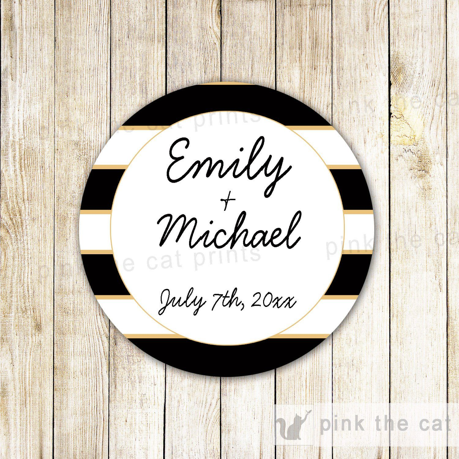 Wedding Sticker Gift Favor Tag Label Bridal Shower Black White Gold ...