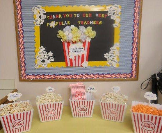 Teacher Appreciation Week - Day 1 Popcorn & Candy Snack Station