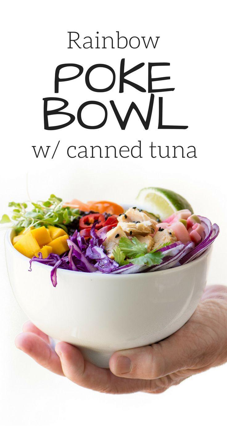 Rainbow Poke Bowl with Canned Tuna bowl Canned Poke