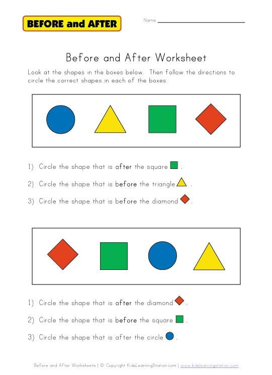 BEFORE and AFTER: We have a bunch of free worksheets to choose ...
