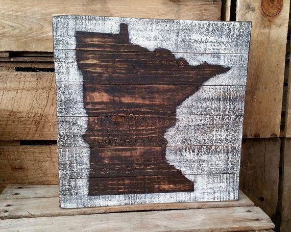 Rustic Minnesota Box Sign,Rustic Home Decor, Reclaimed Wood, MN Wall Art, - Rustic Minnesota Box Sign,Rustic Home Decor, Reclaimed Wood, MN