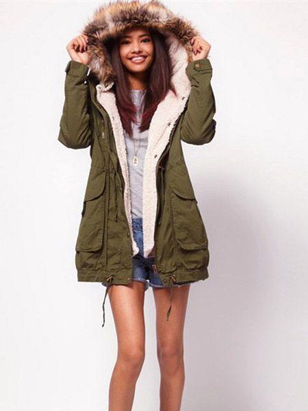 Women Thick Fleece Warm Faux Fur Coat Zip Hooded Parka Jackets ...
